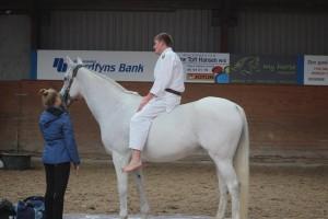 Martin er oppe på hesten og skal til at lave et sidefald ned fra hesten.